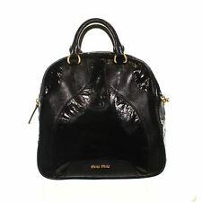 "MIU MIU Black Patent Leather Dome Crossbody Bag, 13"" X 6"" X 14"""