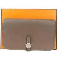 Auth HERMES Logo Dogon Long Bifold Wallet Purse Leather Brown France 32MC335