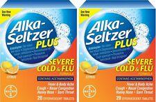 2 Pack Alka-Seltzer Plus Severe Cold & Flu Citrus Formula Tablets 20 count Ea