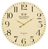 Large Wall Clock Cream Analogue Time Piece Quartz Classical 60cm Easy To Read