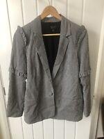 Topshop Black And White Check Ruffle Blazer Jacket Size Uk 12