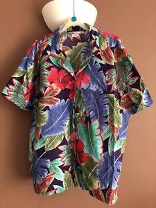 LADIES WOMENS ORIGINAL HAWAIIAN FLORAL SHIRT SIZE XL 100% COTTON