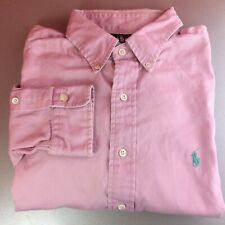 Ralph Lauren Extra-Large (XL) Pink Solid Long Sleeved Shirt Green Pony Genuine