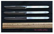 3 Vintage ROBESON Steak Knives Cutlery Shur-Edge Frozen Heat Silverplate Finish