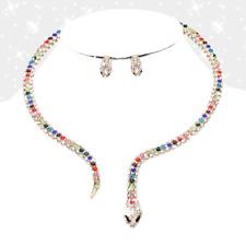 snake necklace Rhinestone Pave Snake Open Choker Necklace & EARRINGS