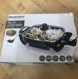 Silvercrest 1500 Watt Tabletop Electric Cooker - 4L Black Pan Depth 5.5cm