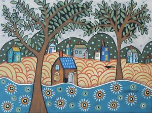 Sublime Landscape 12 x 16 ORIGINAL CANVAS PAINTING Folk ART PRIM Karla Gerard