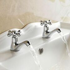 Basin and Bath Tap Set Chrome Victorian Traditional Classic Cross Head Bathroom