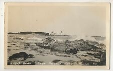 Rppc Light House Lighthouse Cape Porpoise Harbor Me Vintage Real Photo Postcard
