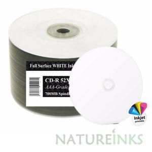 50 Ritek OEM Full Face White Printable Blank CD-R CD 52x Discs 700MB 80min