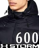 MEN'S UNDER ARMOUR 600 FILL DOWN HOODED PUFFER JACKET TRIPLE BLACK 1346320 M 2XL