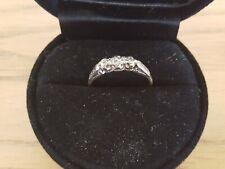 VINTAGE 18ct GOLD & PLATINUM Diamante trilogia Anello Taglia Q, gioielli d'oro