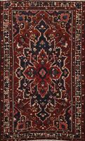 Antique Hand-Knotted Traditional Area Rug Wool Geometric Oriental Carpet 4x7 ft