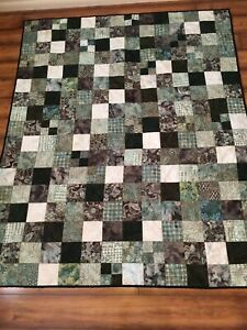 "Handmade cotton batik throw or quilt 58"" x 69"" chocolate brown, sage & cream"