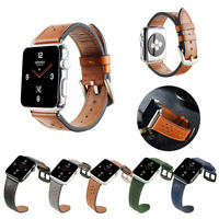 38/42/40/44mm Genuine Leather iWatch Band Strap Bracelet for Apple Watch 5 4 3 2