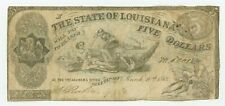 """New listing 1863 Cr.14 $5 State of LOUISIANA """"South Strikes Down Union"""" Note"""