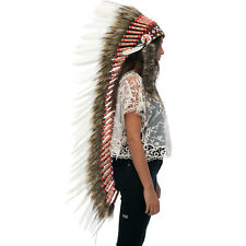 Extra Long Native American Indian Inspired Headdress -ADJUSTABLE - Classic White