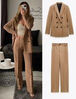 ZARA NEW WOMAN CAMEL DOUBLE-BREASTED BLAZER JACKET CO ORD SUIT SET SIZE L XL