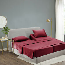 Luxury Bamboo Sheet Set Soft Hypoallergenic Burgundy King Deep Pocket 4 Pc Set