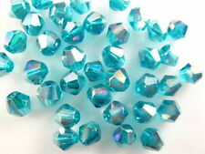 200pcs Peacock Blue AB Glass Crystal Faceted Bicone Beads 4mm Spacer Findings