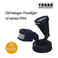 10X Halogen Flood Light with Sensor 100W G9 Black Spot Light Exterior Wall Light