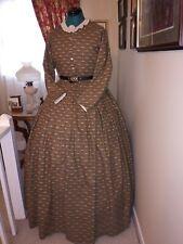 Civil War Reenactment Ladies DayDress Size 20 Repro Fabric Brown/Blue