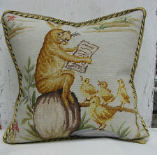 """16"""" Square Bunny Class Time Handmade Wool Needlepoint Cushion Cover/Pillow Case"""