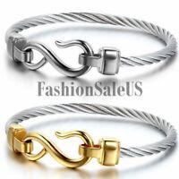 Women's Stainless Steel Love Infinity Symbol Bracelet Bangle Charm Wristband