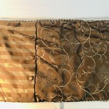 """Brown Cream Floral Pillow Shams Ribbed Edging Two 18""""x35"""" Mixed Print Front"""