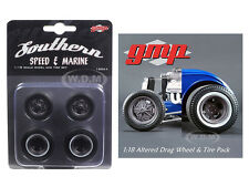WHEELS & TIRES ALTERED DRAG SET OF 4 MAGNESIUM FINISH 1/18 BY GMP 18864