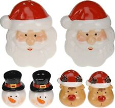 Christmas Salt and Pepper Set Condiment Set Cruet Set Santa Snowman Reindeer