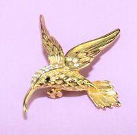 Womens Gold Tone Rhinestone Figural Hummingbird Brooch Pin