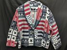 Bedford Fair Lifestyles Patriotic Woven Jacket Blazer Womens Size Large Petite