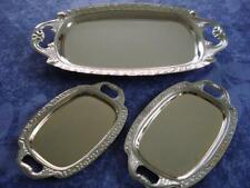 3x Servierplatten Serviertabletts Konvolut Tablett Servierteller silber glänzend