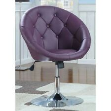 Modern Side Chair Tilt And Swivel Retro Purple Round Cushioned Tufted Office