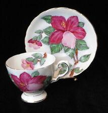 Vintage TUSCAN England Bone China HAWAIIAN FLOWER Red Hibiscus TEA CUP & SAUCER