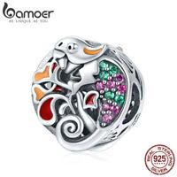 Bamoer 925 Sterling Silver forest Cute Enamel lizard charm With cz Fit Bracelet