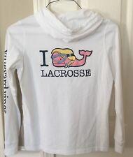 Vineyard Vines Women's Long Slv I Whale Lacrosse Hoodie T Shirt White Large NWT