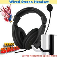 3.5mm Wired Stereo Headset with Mic Microphone Headphone For PC Laptop Desktop #