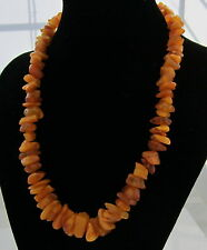 Estate Vintage Amber Bead Beautiful Honey Amber Smooth Nugget 19 Inch Necklace