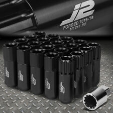 J2 ENGINEERING 7075 ALUMINUM M12X1.5 16PCS 60MM OPEN-END LUG NUT 4PC LOCK BLACK