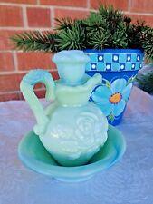 Avon Green Milk Glass Pitcher Basin Moonwind Bath Oil 5 1/2in Tall Vintage 70's