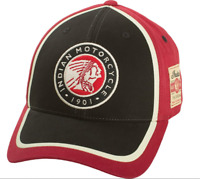 INDIAN MOTORCYCLE MENS BLACK RED CREAM CIRCLE PATCH HAT LOGO ADJUSTABLE BACK OS