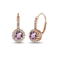 Simulated Alexandrite & White Topaz Leverback Earrings Rose Gold Plated Silver