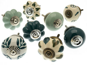 Green Sage and Teal Ceramic Cupboard Kitchen Door Knobs Hand Painted Set of 8