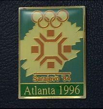 Olympic Pin Badge~Poster Pin~Sarajevo, Yugoslavia 1984~1996 Atlanta~NEW on CARD
