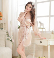 A Set Hot Skin Pink Sexy Women Robe Satin Pajamas Sleepwear Lingerie Nightdress