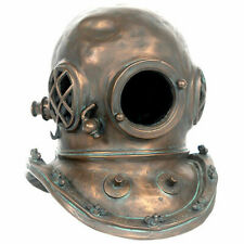"16.5""H Diving Helmet Copper Statue Novelty Collectible Decor"