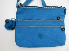 Kipling Nylon Crossbody Purse Messenger Shoulder Bag Blue Monkey Keychain