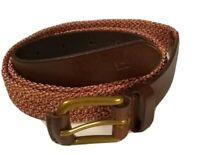 Scotch and & Soda Womens Skinny Belt with brown leather and elastic braid Size M